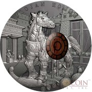Niue Island TROJAN HORSE series ANCIENT MYTHS Silver Coin $10 Antique finish 2016 Detailed High Relief 2 oz